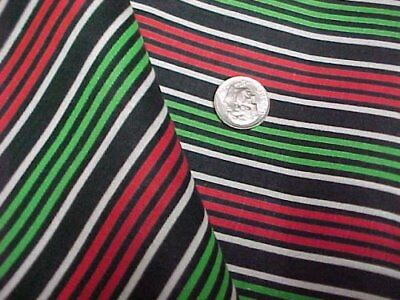 """Vintage Antique Cotton Quilt Doll Fabric Stripes Black Green 36"""" wd Sew Material"""