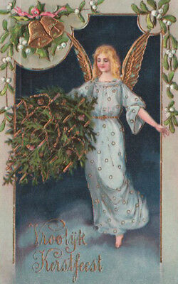 GORGEOUS ANGEL IN BLUE ALOFT, DELIVERS CANDLE-LIT CHRISTMAS TREE Gold Embel. PC