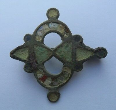 Roman Ancient Bronze Enamelled Fibula Brooch (2)