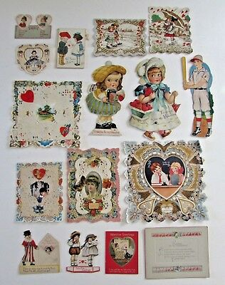 Lot 16 Antique Vtg Valentines Valentine's Day Greeting Cards Mechanical etc