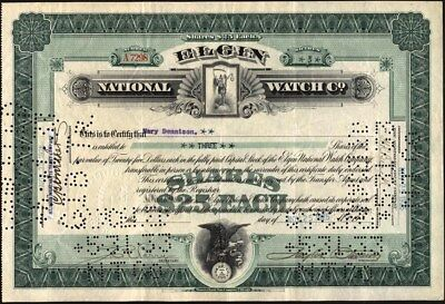 Elgin National Watch Co., 1925, Cancelled Stock Certificate