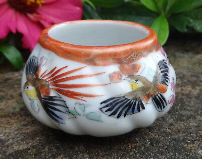 White Pottery Open Salt Dip, Cellar, Dish w/Exotic Birds, Flowers!