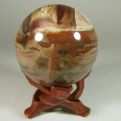 """2.1"""" PETRIFIED WOOD Sphere Ball w/ Stand - Madagascar - 54mm"""