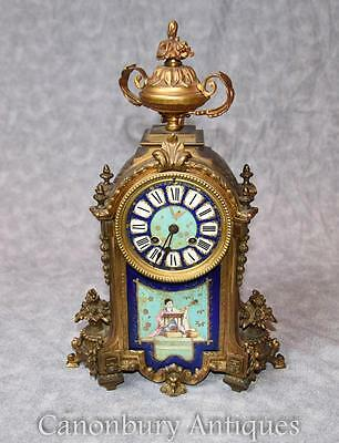 Antique Mantel Clock - French Sevres Porcelain Plaques Japanese Decoration