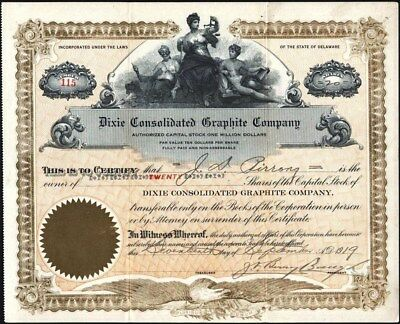 Dixie Consolidated Graphite Co, 1919, Partly Issued Stock Certificate