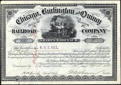 Chicago, Burlington And Quincy Railroad Co Of Illinois, 1884 Cancelled Stock Cft