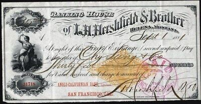 Banking House Of L. H. Hershfield & Brother, Helena, Mt, 1881 Sight Draft + Rev.