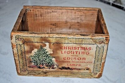 Antique Christmas Lighting Wood Box Paper Labels Edison Lights General Electric