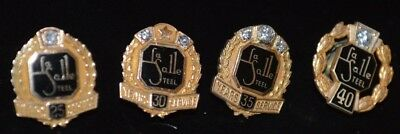 LaSalle Steel Service pins 25,30,35 and 40 year  Morgan's 10K gold with Diamond