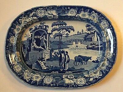 Old ANTIQUE BLUE & WHITE TRANSFERWARE PEARLWARE POTTERY PLATTER STAFFORDSHIRE