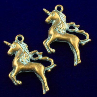 2pcs Carved Brass Bronze Horse Pendant Bead 36x25x5mm N39662