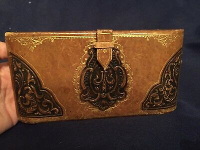 Antique Vintage Leather Hand Tooled Coin Purse with Serpents & Mirror Hard Shell