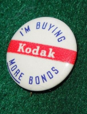 WWII US Home Front I'M BUYING MORE BONDS KODAK Photo Pin Lapel Button