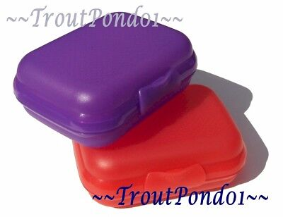 Tupperware Packables Hinged Container Trinket Box Oyster Purple and Red Set 2