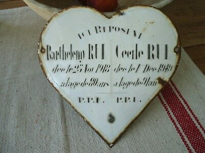 "Large, Circa 1949, French ""Heart Shaped Memorial Plaque"""