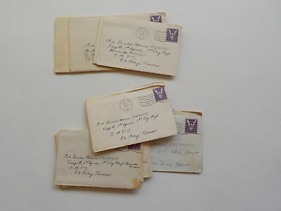 15 WWII Letters Soldier Ft. Riley Kansas South Gate California Lot VTG WW II WW2