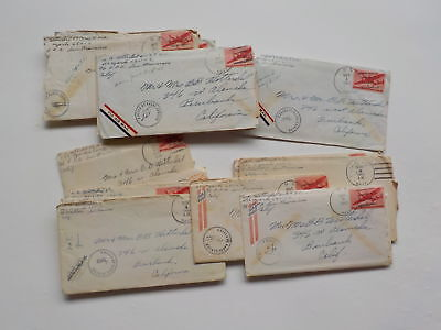 20 WWII Letters U.S.S. Ozark FPO Censor Stamps Lot Burbank California WW2