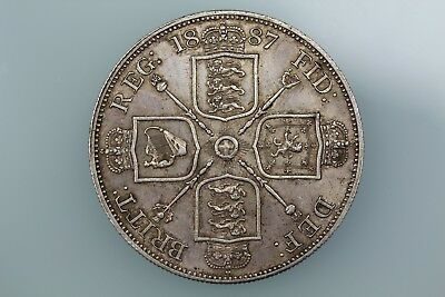 Gb Victoria Double Florin Coin 1887 S3923 Extremely Finegb Victoria Double Flori