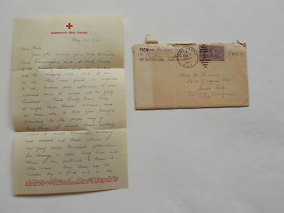WWII Letter 1943 Fort MacArthur California South Gate Red Cross Logo WW2