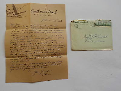 WWII Letter 1943 Fly Fishing Illustration Eagle Hurst Ranch Huzzah Maryland WW2