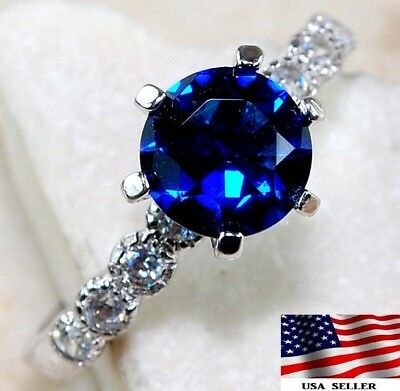Blue Sapphire & White Topaz 925 Sterling Silver Ring Jewelry Sz 7