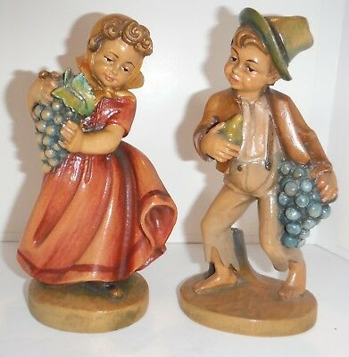 2 Vintage German Wood Carved Figures - Mussner Gino Darling Boy & Girl w Grapes