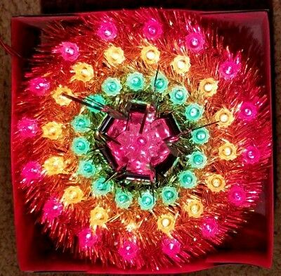 """49 Light Gold Tinsel Wreath Tree Topper 8"""" Multi Color Lights - Indoor Use"""