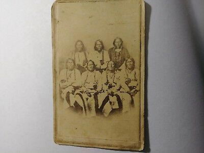 Group Native American Indians Cdv Photo Back Reads Bequest For Peace A Treaty