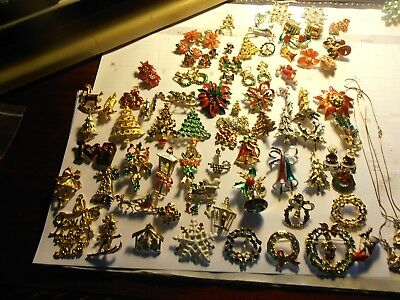 Large Lot Of Vintage Christmas Brooches Etc.