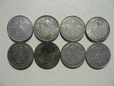 Lot of 8 Nazi Third Reich Germany Coins - Silver 2 Marks