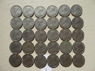 Lot of 30 Canada King George V Five Cents Nickel Coins - Lot 1