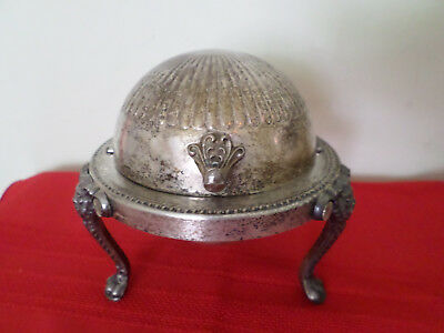Vintage FB Rogers Bros Silver Co 1883 Three Footed Domed Butter Dish Lions Head