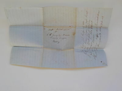 Antique Stampless Letter 1852 Oregon Territory Foreign Language European VTG NR