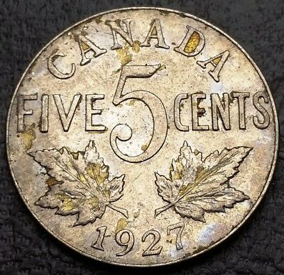 1927 Canada 5 Cents Nickel Coin ***VF+ Condition*** Free Combined Shipping