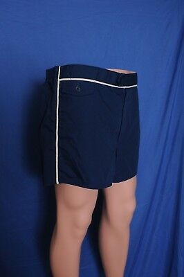 VTG '70s Jantzen zip front navy blue short bathing suit 36