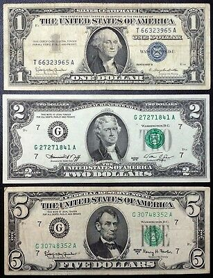 Lot of 3 USA Notes - 1957 Blue Seal $1, 1976 Green Seal $2, 1964 Green Seal $5