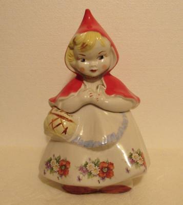 """Cookie Jar """"Little Red Riding Hood"""" Vintage 1940's Pat. No. 135889 Hull Pottery"""