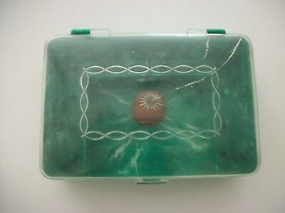 Vintage Green Marbeled Plastic Sewing Box, Clear Lid
