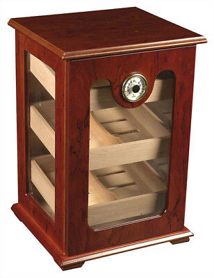 NO RESERVE 150 ct RED WOOD CIGAR HUMIDOR - GREAT DISPLAY SHOW CASE - REFURBISHED
