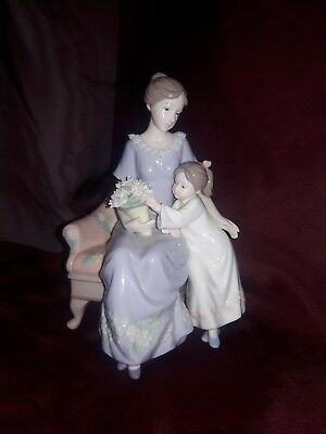 Mother w/daughter sitting in chair holding bouquet of flowers porcelin figurine