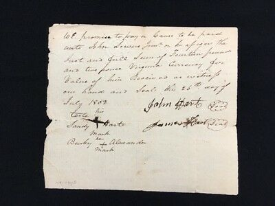 Virginia Document July 1802 For Purchase Of Slave(S?) 2 Embossed Revenues