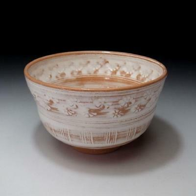 UP3: Vintage Japanese Mishima Style Pottery Tea Bowl, Kyo Ware
