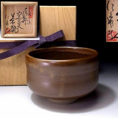 TQ7: Vintage Japanese Pottery Tea bowl, Seto ware with Signed wooden box, Brown