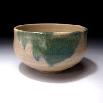 HR6: Vintage Japanese Pottery Tea Bowl, Seto Ware, Green glaze
