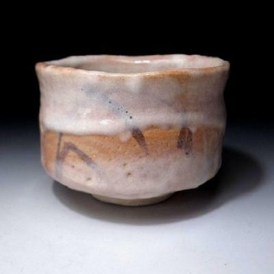 RB7: Vintage Japanese Hand-shaped Tea Bowl, Shino Ware, WABI SABI taste