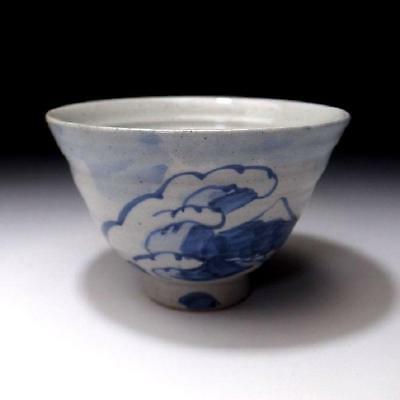 SB5: Vintage Japanese Hand-painted Pottery Tea Bowl, Kyo Ware, Mount Fuji