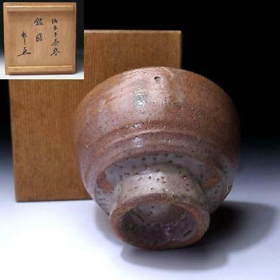 PG6: Vintage Japanese Pottery IDO tea bowl, Hagi ware with Signed wooden Box