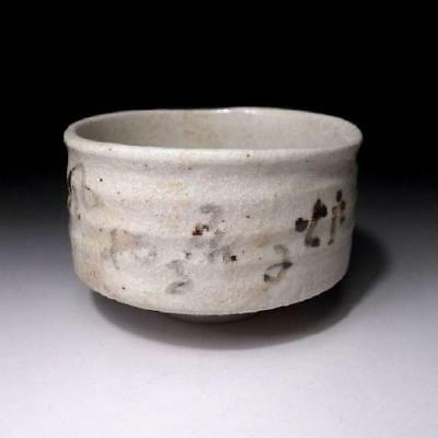 LH6: Vintage Japanese Tea bowl of Shino ware, White glaze