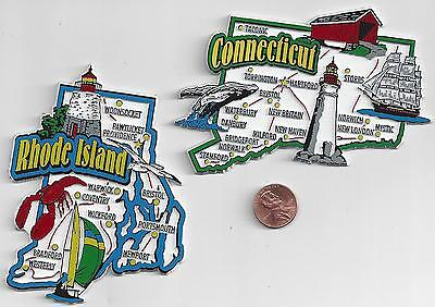 RHODE ISLAND and CONNECTICUT JUMBO STATE MAP  MAGNET 7 COLOR  NEW   2 MAGNETS