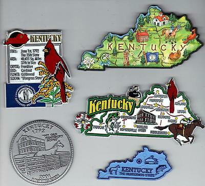 KENTUCKY  KY  MAGNET ASSORTMENT 5 NEW  STATE SOUVENIRS including ARTWOOD MAP